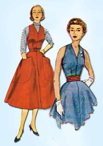 1950s Vintage Simplicity Sewing Pattern 3968 Uncut Misses Dress or Jumper Sz12