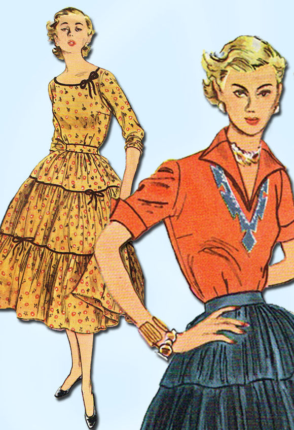 1950s Vintage Simplicity Sewing Pattern 3978 Uncut Misses Squaw Dress Size 20
