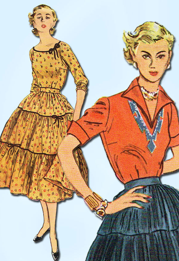 1950s Vintage Simplicity Sewing Pattern 3978 FF Misses 2 PC Squaw Dress Size 18