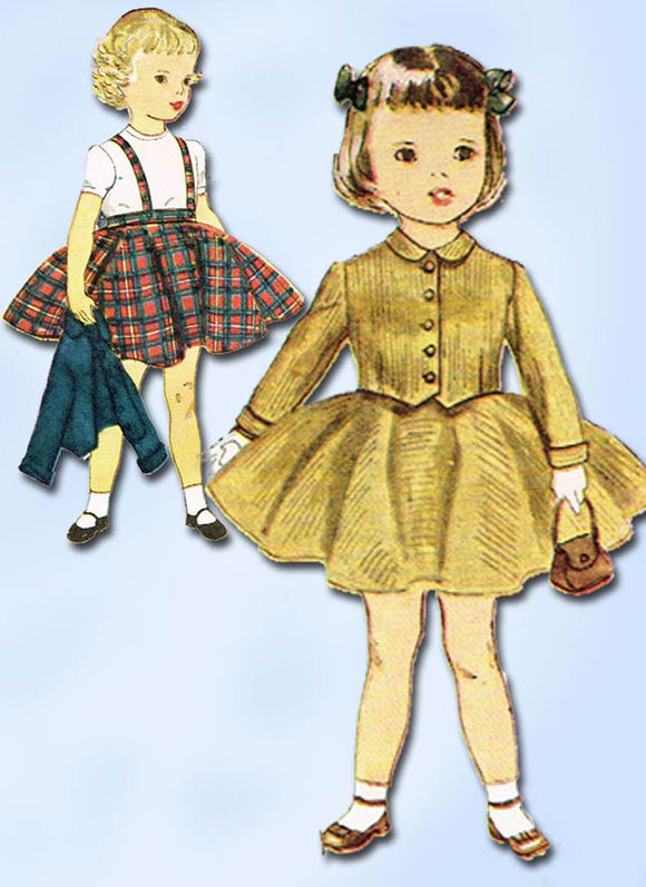 1950s Vintage Simplicity Sewing Pattern 3992 Cute Toddler Girls Suit Size 3