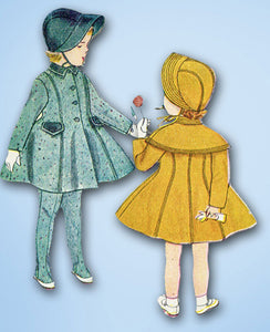 1950s Vintage Simplicity Sewing Pattern 4024 Uncut Toddlers Coat & Bonnet Sz 4