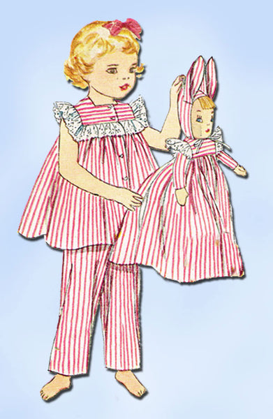 1950s Vintage Toddler Girls PJs & Doll 1952 Simplicity Sewing Pattern Size 2