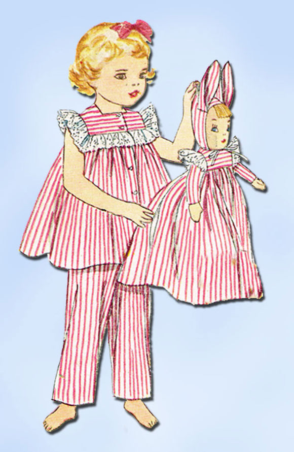 1950s Vintage Baby Girls Pjs & Doll 1952 Simplicity Sewing Pattern 4025 Sz 1