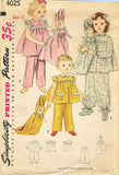 1950s Vintage Simplicity Sewing Pattern 4025 Toddler Girls Pjs & Doll Size 2