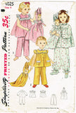 1950s Vintage Simplicity Sewing Pattern 4025 Uncut Toddler Girls Pjs & Doll Sz4