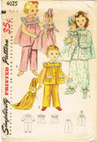 1950s Vintage Simplicity Sewing Pattern 4025 Toddler Girls Pjs & Doll Size 6