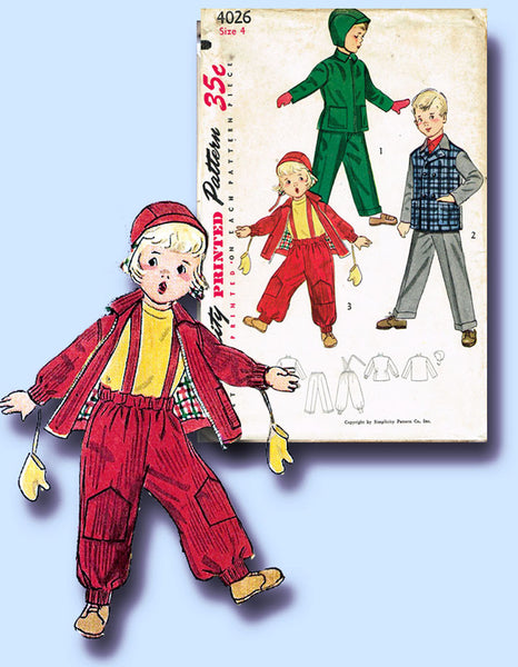 1950s Vintage Simplicity Sewing Pattern 4026 Uncut Toddler Boys Snow Suit Size 4
