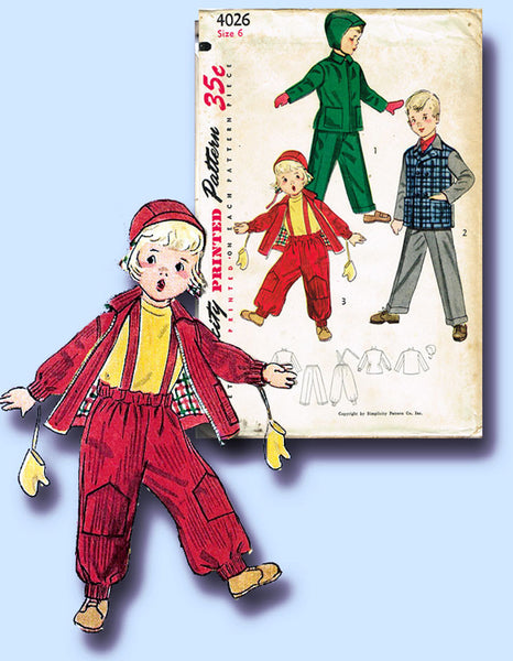 1950s Vintage Simplicity Sewing Pattern 4026 FF Toddler Boy's Snow Suit Size 6