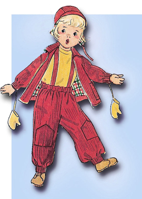 1950s Vintage Simplicity Sewing Pattern 4026 FF Toddler Boy's Snow Suit Size 6 -Vintage4me2