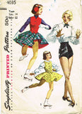 1950s Misses Simplicity Sewing Pattern 4035 Misses Dance & Skating Costumes 32B