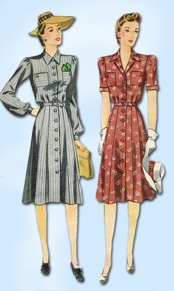 1940s Vintage Simplicity Sewing Pattern 4036 Misses WWII Shirtwaist Dress Sz 14