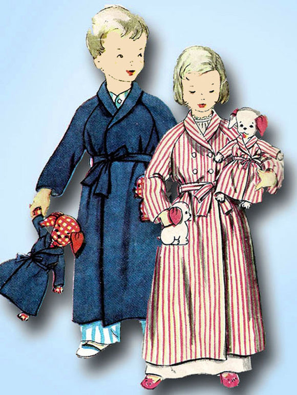 1950s Vintage Simplicity Sewing Pattern 4058 Toddlers Robe w Puppy Doll & Robe 2