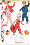 1950s Vintage Kids Cowboy Puppy Overalls FF Simplicity Sewing Pattern 4059 Sz 5