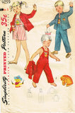 1950s Vintage Simplicity Sewing Pattern 4059 Toddlers Puppy Overalls Size 2