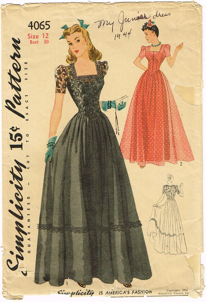 1940s Vintage Simplicity Sewing Pattern 4065 WWII Misses Evening ...