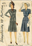 1940s Vintage Simplicity Sewing Pattern 4075 Misses WWII 2 PC Suit Size 34 Bust - Vintage4me2