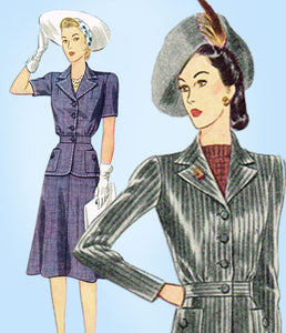 1940s Vintage Simplicity Sewing Pattern 4075 Misses WWII 2 PC Suit Size 36 Bust - Vintage4me2