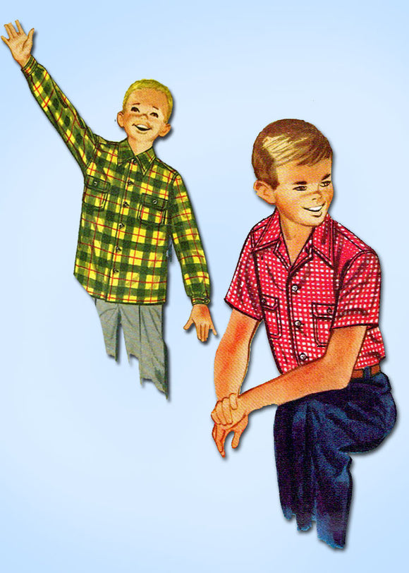 1950s Vintage Simplicity Sewing Pattern 4100 Uncut Toddler Boy's Shirt Size 6