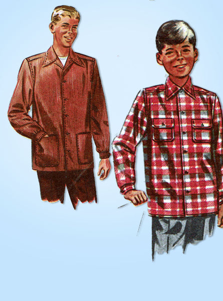 1950s Vintage Simplicity Sewing Pattern 4100 Classic Boy's Shirt or Jacket Size 14