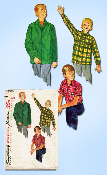 1950s Vintage Simplicity Sewing Pattern 4100 Classic Boy's Shirt or Jacket Size 12