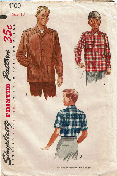 1950s Vintage Simplicity Sewing Pattern 4100 Classic Boy's Shirt or Jacket Size 10