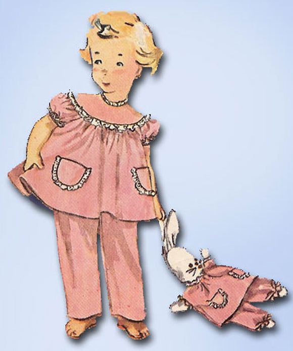 1950s Vintage Toddler Girls Pjs & Doll Uncut Simplicity Sewing Pattern 4102 Sz 4