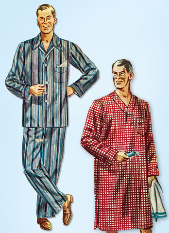 1950s Original Vintage Simplicity Pattern 4108 Men's Pajamas and Nightshirt MED