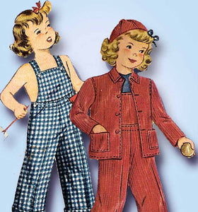 1940s Vintage Simplicity Sewing Pattern 4114 WWII Childs Overalls & Jacket Sz 4