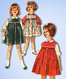 1960s Vintage Simplicity Sewing Pattern 4118 Toddler Girls Jumper Dress Size 2