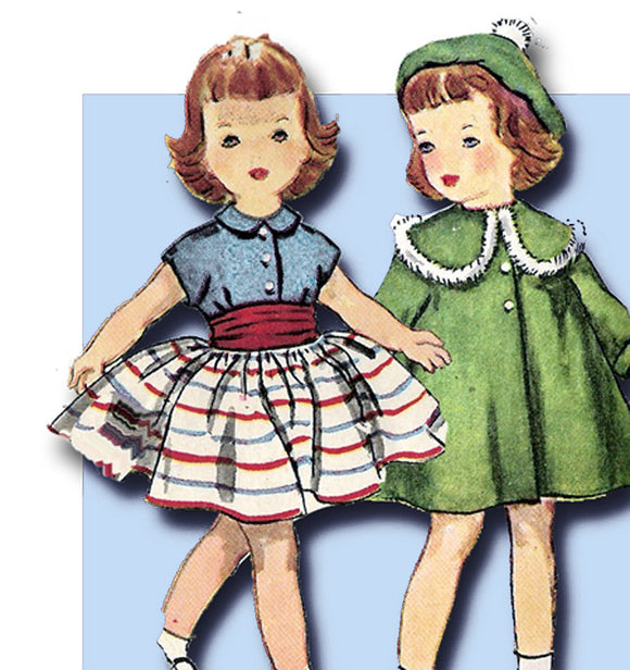 1950s Vintage Simplicity Sewing Pattern 4128 Easy 16 Inch Toni Doll Clothes