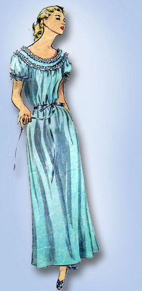1950s Vintage Simplicity Sewing Pattern 4140 FF Misses Nightgown Easy! Sz 14 32B