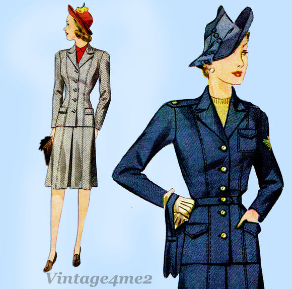 1940s Vintage Simplicity Pattern 4151 Misses WWII Tailored Suit Sz 38 Bust