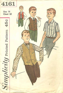 1960s Vintage Simplicity Sewing Pattern 4161 Boys Vest and Shirt Size 14