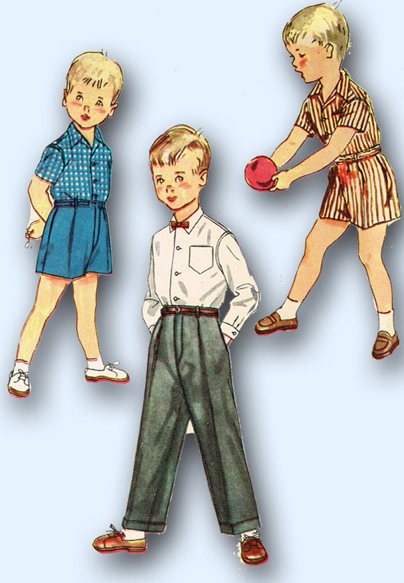 1950s Vintage Simplicity Sewing Pattern 4166 Boys Shirt Shorts & Trousers Size 6