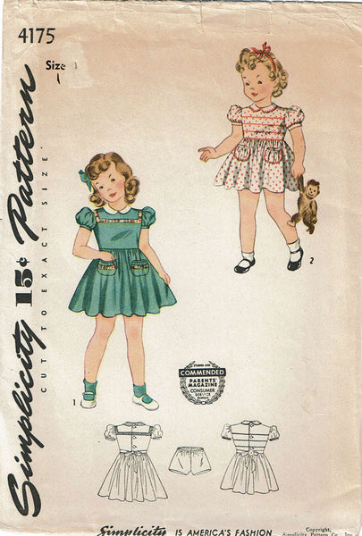 1940s Vintage Simplicity Sewing Pattern 4175 WWII Baby Girls Dress Size 1