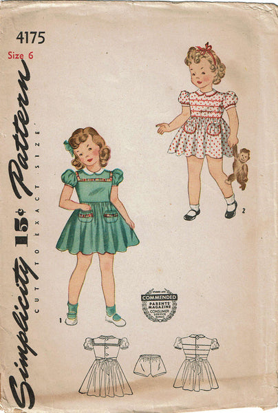 1940s Vintage Simplicity Sewing Pattern 4175 WWII Girls Dress Size 6