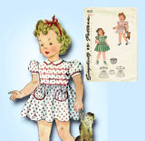 1940s Vintage Simplicity Sewing Pattern 4175 Cute Toddler Girls WWII Dress Sz 3