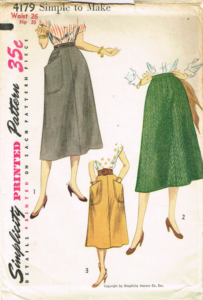 1950s Misses Simple Skirt Uncut 1952 Vintage Simplicity Sewing Pattern Size 26 W