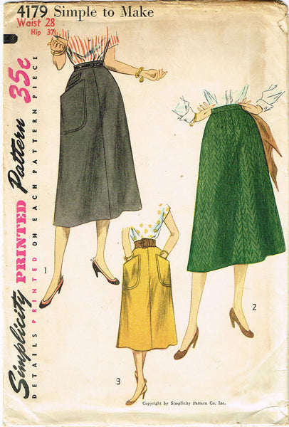 1950s Misses Simplicity Sewing Pattern 4179 Uncut Misses Simple Skirt Size 28W