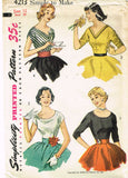 1950s Vintage Simplicity Sewing Pattern 4213 Uncut Misses Bias Cut Blouse Sz 30B