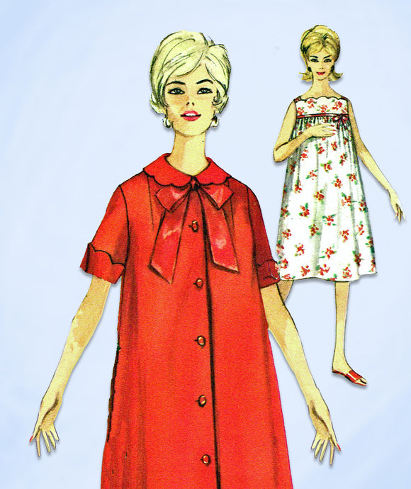 1960s Vintage Simplicity Sewing Pattern 4214 Misses Nightgown & Robe Size 12 32B