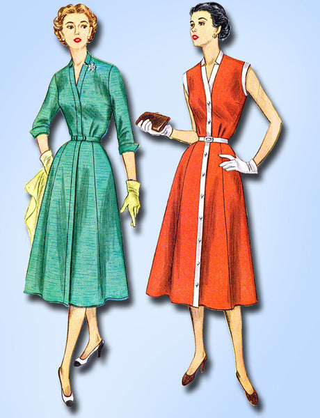 1950s Vintage Simplicity Sewing Pattern 4220 Misses Street Dress Size 14 32B
