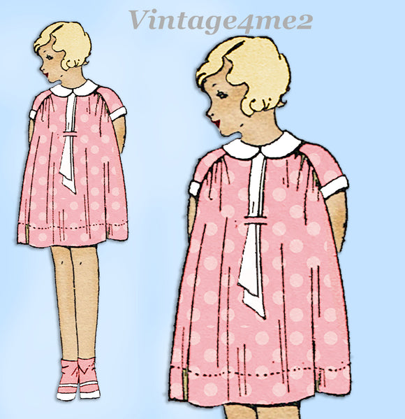 Simplicity 423: 1920s Uncut Little Girls Bloomer Dress Sz 8 Vintage Sewing Pattern