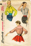 1950s Vintage Simplicity Sewing Pattern 4237 Stunning Misses Blouse Size 14 32 Bust