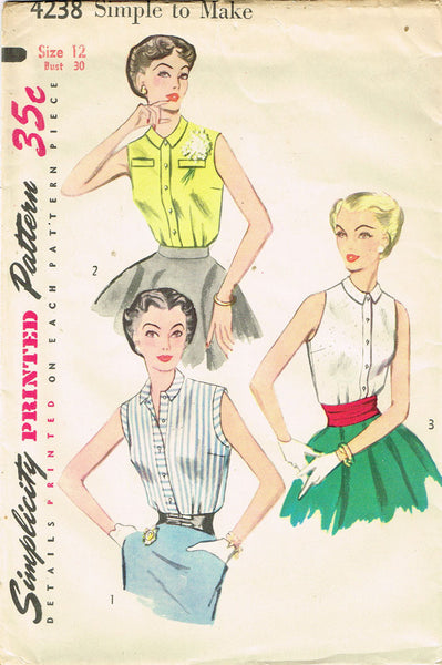 1950s Misses Simplicity Sewing Pattern 4238 Uncut Misses Easy Blouse Sz 12 30B