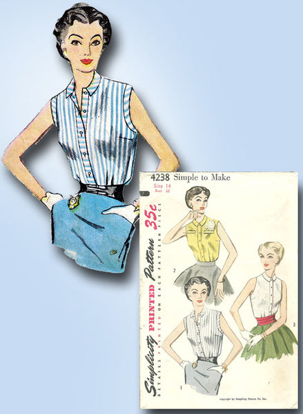 1950s Misses Simplicity Sewing Pattern 4238 Easy Misses Sleeveless Blouse 32B
