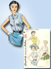 1950s Vintage Simplicity Sewing Pattern 4238 Easy Misses Sleeveless Blouse 32B