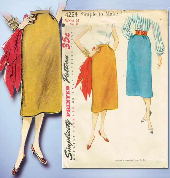 1950s Misses Simplicity Sewing Pattern 4254 FF Simple Misses Day Skirt 26 Waist