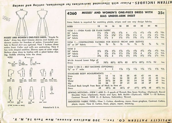 1950s Misses Simplicity Sewing Pattern 4260 Uncut Misses Street Dress Sz 14 32B