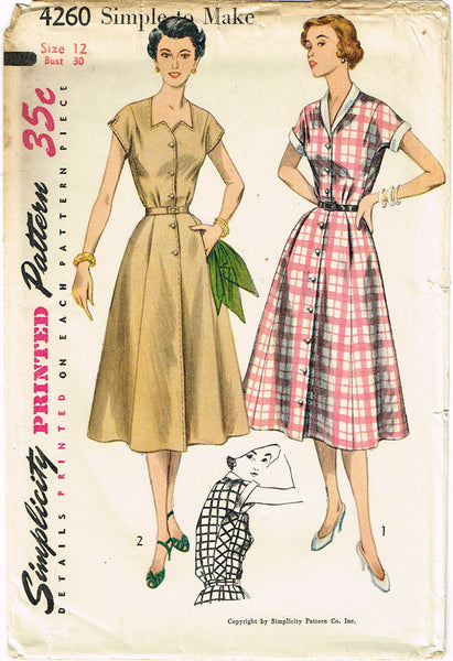 1950s Misses Simplicity Sewing Pattern 4260 Uncut Misses Street Dress Sz 12 30B